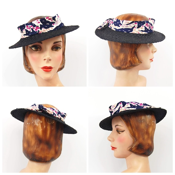 30s Summer Straw Hat - Abstract Colorful Print Ray