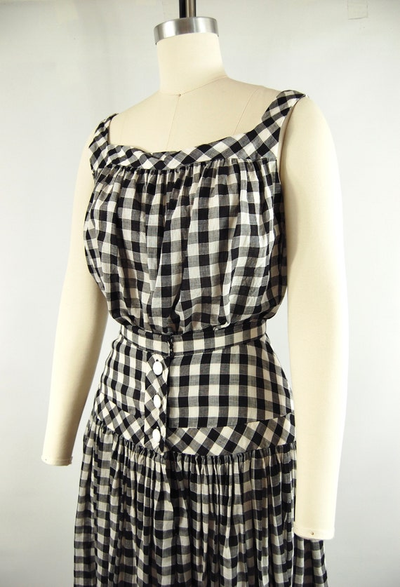 40s 50s Checkered Gingham Skirt and Top Set / 23 … - image 4