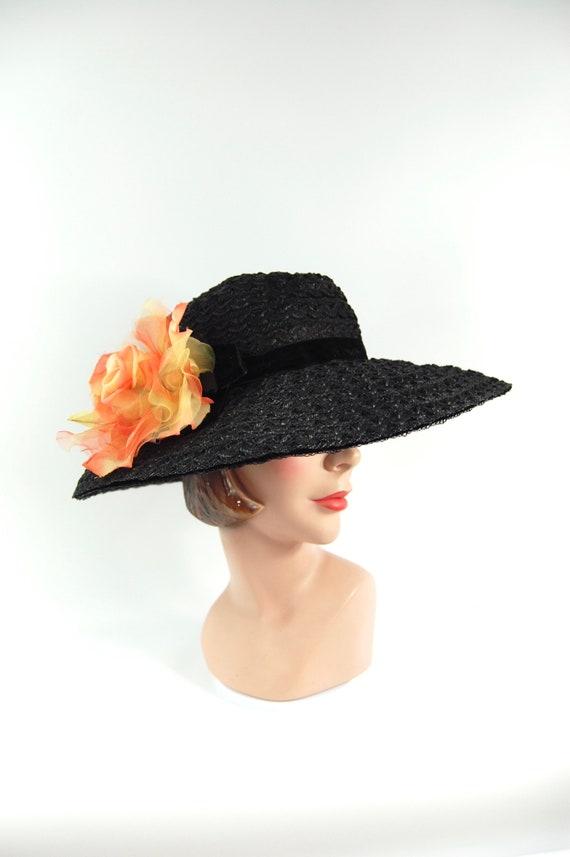 50s 60s Black Straw Wide Brimmed Hat / Black Summ… - image 3