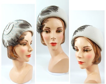 60s Dove Grey Cloche Hat with Feathers Flapper Hat Feather Spray Art Deco Accent Junior Seasons New York Made in USA