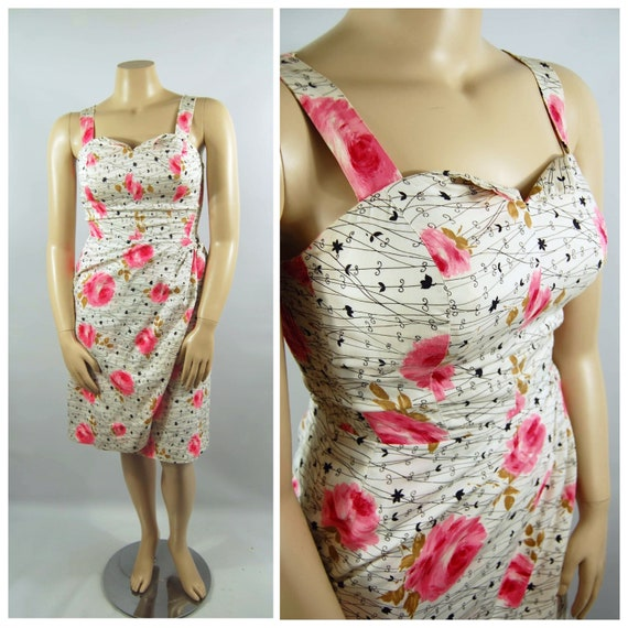 50s 60s Volup Play Suit Dress / 28 - 31 Waist / Pi