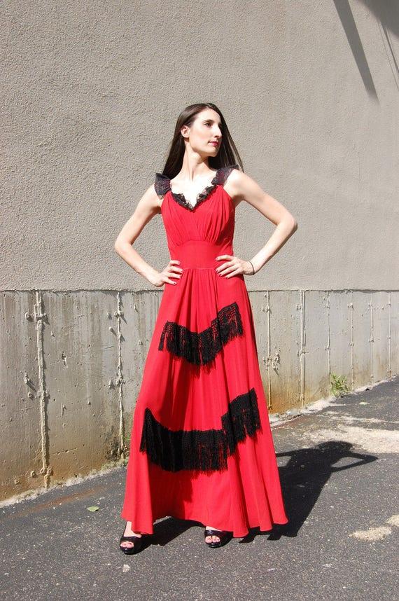 40s Fringe Trimmed Crepe Gown // 28 Waist // Red … - image 3