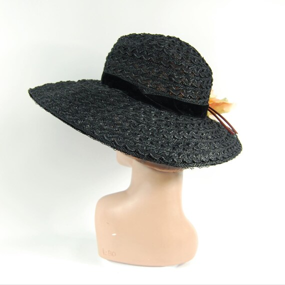 50s 60s Black Straw Wide Brimmed Hat / Black Summ… - image 8
