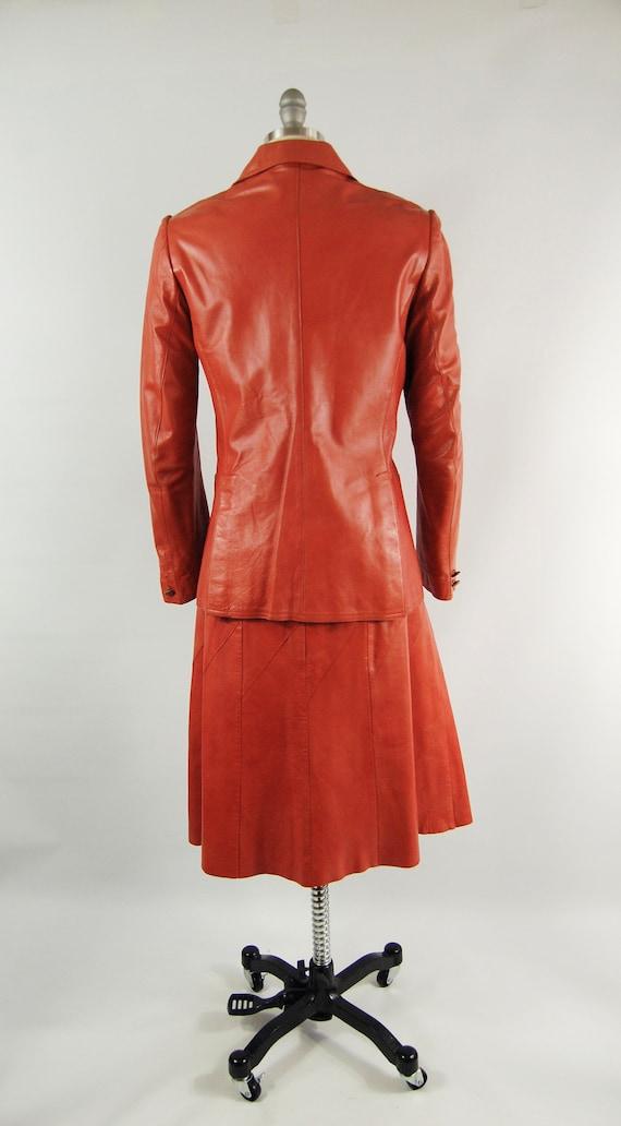 70s Orange Leather Suit / 30 Waist / Horst Burnt … - image 6