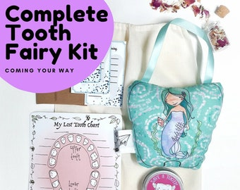 Girl tooth fairy pillow kit, tooth fairy set, customizable tooth pillow, tooth pillow for girl, gift for kids, mermaid tooth fairy pillow