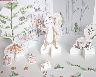 PRINTABLE Color and cut sheet, downloadable PDF, Woodland Holiday, Squirrel Christmas decorations