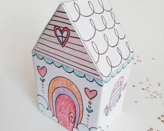 PRINTABLE Valentine Cottage Mail Box, PDF download paper cottage, valentine mail box, paper craft, color and cut activity