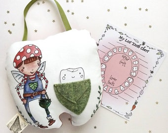 Tooth fairy pillow, Tooth pillow Personalized, Custom tooth fairy pillow, Tooth pillow Boy, gift for 5 year old, lost tooth chart