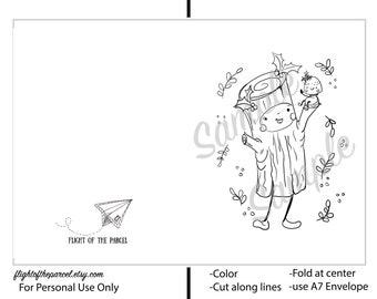PRINTABLE Card, coloring sheet card, Downloadable PDF, Yule Log, Yule greetings