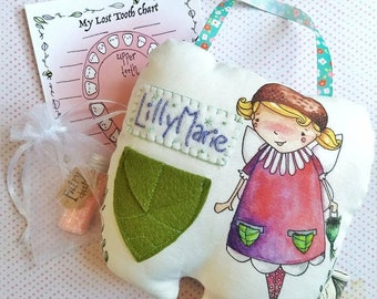 Embroidered Tooth Fairy Pillow, Personalized Tooth fairy pillow, tooth fairy gift, Personalize tooth fairy pillow, girl tooth fairy pillow