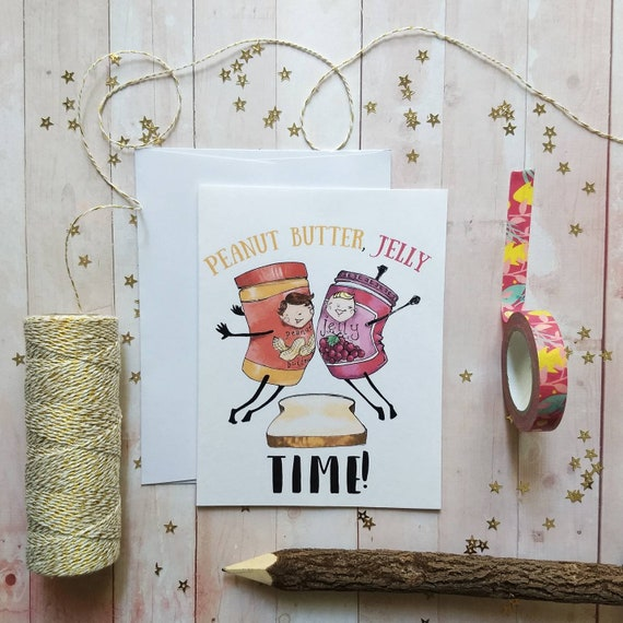 thanks for being a friend card Friendship card Crazy friend card Peanut Butter and Jelly just because card greeting card
