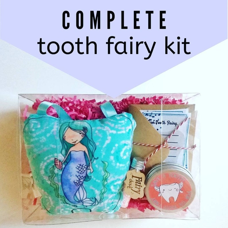 Girl tooth fairy pillow kit tooth fairy set customizable image 0