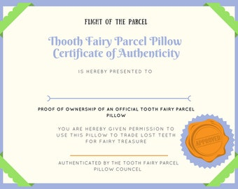 Digital Download PDF, Tooth Pillow Certificate of Authenticity, Tooth Fairy tradition, First lost tooth