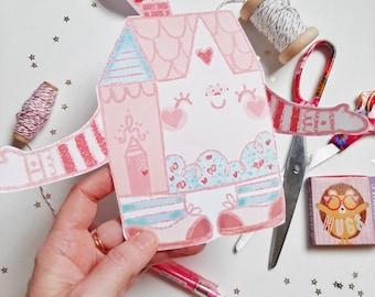 Valentines Hug House Printable card, downloadable valentine card, cute card, valentines for kids