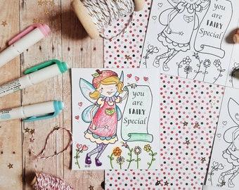 Printable Valentine PDF, valentine cards, coloring sheet valentines, Fairy Valentine, Bumble Bee Valentine, Print at Home