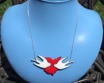 Enamel Ohio Doves Necklace