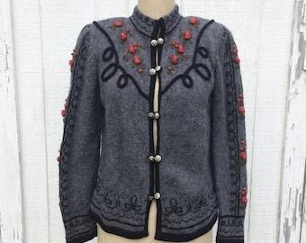 Vintage Embroidered Shetland Wool Cardigan Sz S