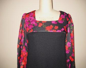 Vintage Black and Floral Print Long Dress