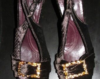 Vintage Purple Velvet Heels with Citrine Rhinestones