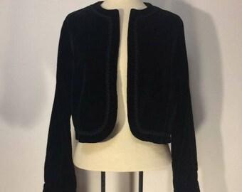 Vintage Black Velvet Cropped Jacket Sz S/M