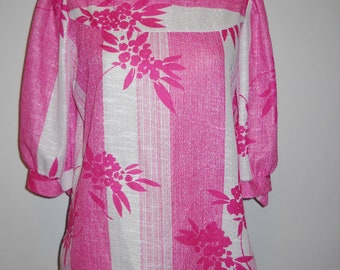 Beautiful Pink and White Vintage Print Blouse