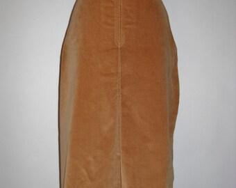 Vintage Caramel Velvet Cotton Skirt