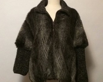 Vintage Faux Fur & Knit Coat