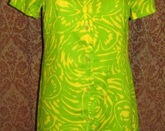 Vintage Bright and True Green and Yellow Two-Piece Dress and Jacket Set