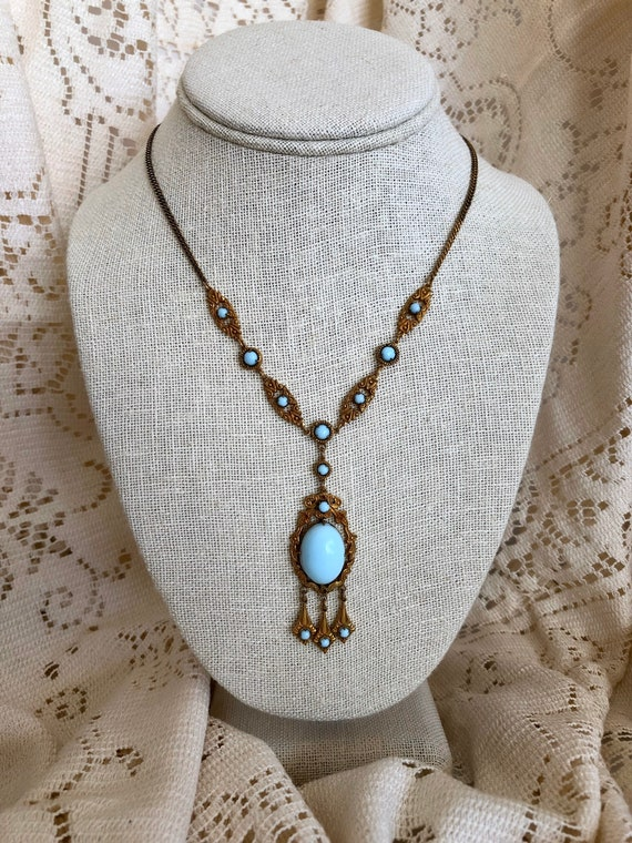 Beautiful Victorian Pale Blue Pendant Necklace, Vi
