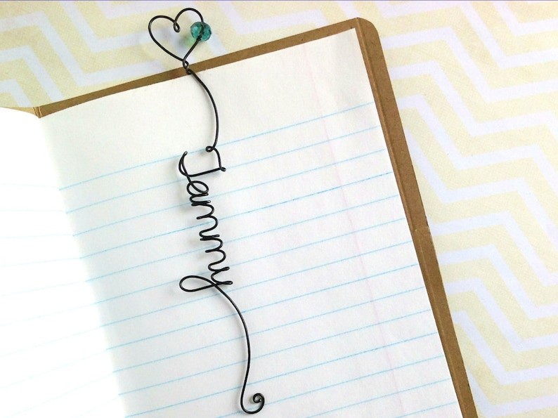 Personalized Unique Name Bookmark with Heart and Bead image 0