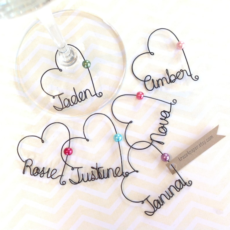 Personalized Wine Glass Charms Personalized Wedding Favors image 0