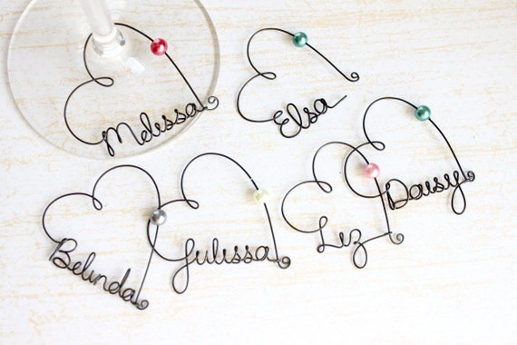 Personalized Wine Glass Charms, Personalized Wedding Favors, Bachelorette Party Favors, Champagne Glass Charms, Bridal Shower Favors