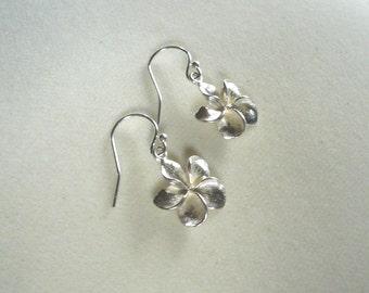 Plumeria Earrings in sterling silver