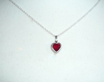 Tiny Heart Necklace, January birthstone, garnet Swarovski crystal