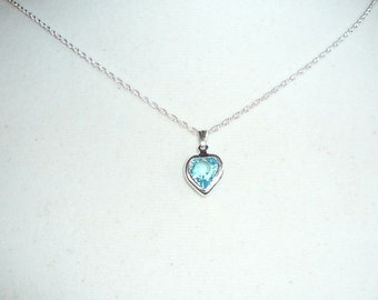 Tiny Heart Necklace, March Birthstone necklace, Swarovski aquamarine crystal