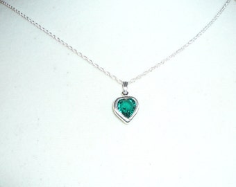 Tiny Heart Necklace, May birthstone, emerald Swarovski crystal