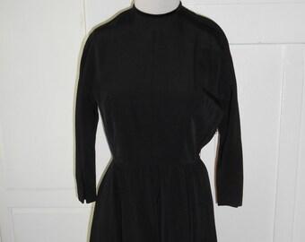 Vintage 1950s Black Full Skirt Dress
