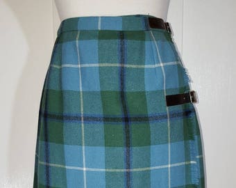 Vintage Scottish Plaid School Girl Skirt  Blue Green