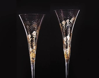 CRYSTAL Trumpet Flutes - Couple's Toasting Flutes, Hand Painted Gold Roses, Wedding Toast Flutes, 25th 50th Anniversary Gifts