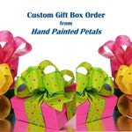 Custom Gift Box Kit order for N: Set of 10 -  Purple Tissue Paper, Purple Ribbon and Purple Satin Rose Topper - Stemware Gift Box KITS