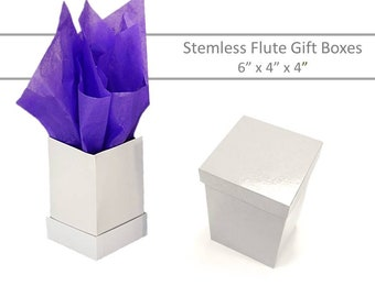 Stemless Glass Boxes - 5 White Cap Top Boxes - 4 x 4 Stemless Boxes, Mason Jar Gift Boxes, Candle Favor Boxes, Stemless Flute Boxes