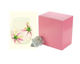 5 Pink Gift Boxes with Opt-In Ribbon + Topper - Stemless Glass Box, Stemless Flute Box, Baby Shower Boxes, 6 x 6 Pink Boxes