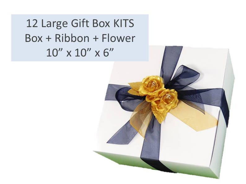 Accessories XL Gift Box for Clothing Large Gift Box KIT Flower Topper Includes Box Wine Glass Sets Ribbon