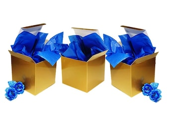 Gold Gift Boxes - 6 x 6 Gold Favor Boxes, Candle Favor Box, Mason Jar Boxes, Stemless Wine Glass Box, Wedding Favor Boxes
