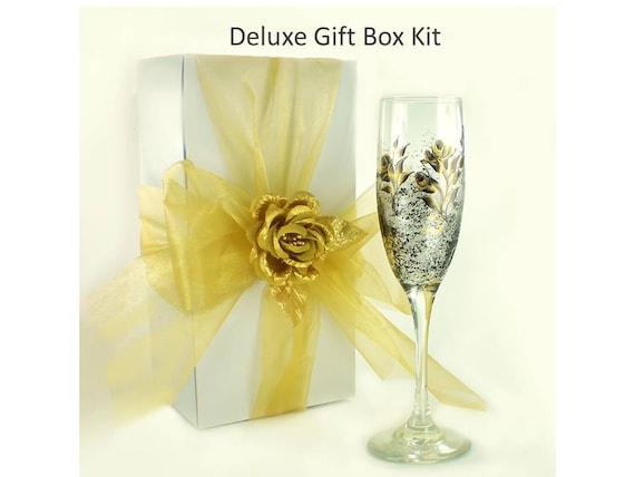 f788c3a415f Large 10 x 10 x 6 Inch Gift Box Kit Ribbon and Satin Rose