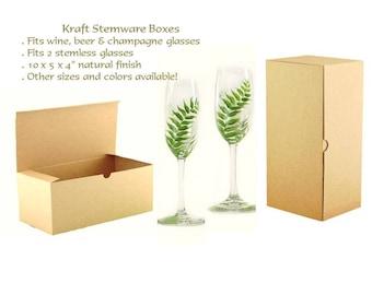 30 Kraft Gift Boxes - Boho Stemware Boxes, Flutes Gift Boxes, Bridesmaid Favor Box, 30 Wine Glass Box, Glassware Gift Boxes