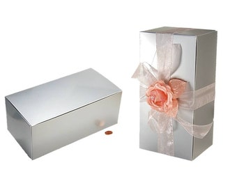 30 Silver Gift Box KITS incl Boxes + Choice of Ribbon + Topper Colors - 10 x 5 Silver Wine Glass Boxes, Silver Flute Boxes