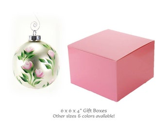 Stemless Wine Glass Boxes - 25 Pink Gift Boxes with Optional Ribbon + Topper - 6 x 6 Pink Favor Boxes for Candle Favors, Stemless Flute Box