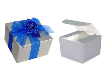 5 Royal Blue and Silver Gift Boxes with Ribbon + Tissue Paper + Topper, Stemless Glass Box, Bridesmaid Proposal Box, 6 x 6 Silver Boxes