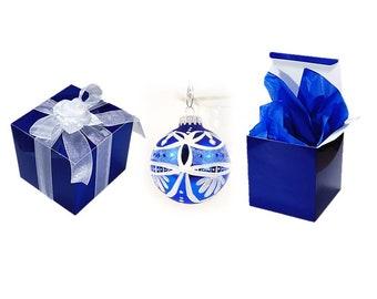 20 Ornament  Boxes - 4 x 4 Royal Blue Box for Ornaments, Stemless Glass Box, Royal Blue Gift Box, Stemless Flute Box, Christmas Ornament Box